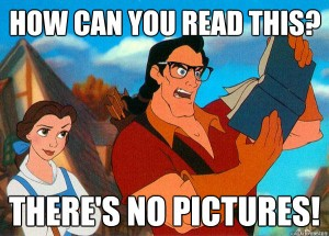 gaston beauty and the beast reading book